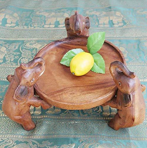 ZZSIccc Südostasiatischen Stil Log Obstteller Vintage chinesischen Stil Hause handgemachte Carving kleine Elefanten Dörrobst Gericht, B
