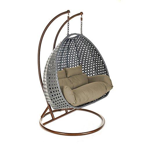 Home Deluxe - Polyrattan Hängesessel - Twin grau mit Regenabdeckung - inkl. Gestell, Sitz- und Rückenkissen