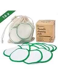 Wiederverwendbare Wattepads - Waschbare Wattepads- und Bambuspads - Facewash Make up Entferner - Umweltfreundliche Baumwollbälle - Weiche abschminkpads bambus - 16er Pack