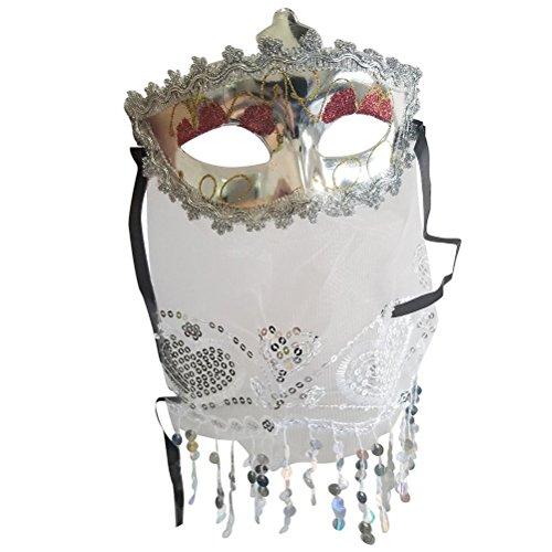 Bestoyard misterioso velo maschera cosplay halloween mascherata veneziana danza del ventre maschera per il carnevale festa da ballo (bianco)
