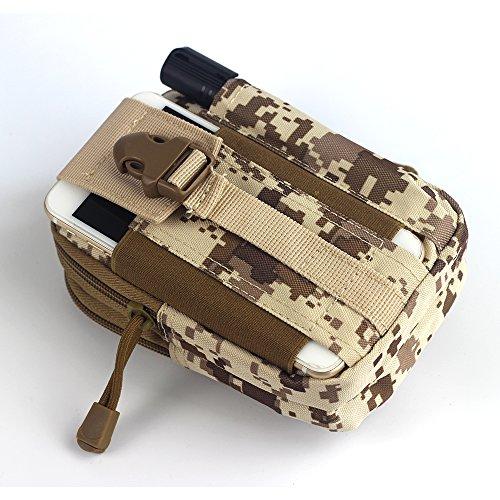 SPAHER Tactical Marsupi sportivi militare Molle Tattico Grossa capienza EDC Camping outdoor Custodia per smartphone Strumento Utilità borsellino Borsa di viaggio Escursione di campeggio Pacchetto Deserto Camo
