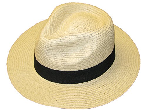 Stroh Knautschfähig FALTBAR SOMMER Panama Fedora Trilby Hut mit Band - Schwarz, 58 EU Panama Fedora