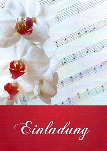 Einladungskarten mit Innentext Motiv Orchidee Noten 10 Klappkarten DIN A6 mit weißen Umschlägen im Set Einladung für jeden Anlass Hochzeit Geburtstag Taufe Kommunion Konfirmation Jugendweihe K72