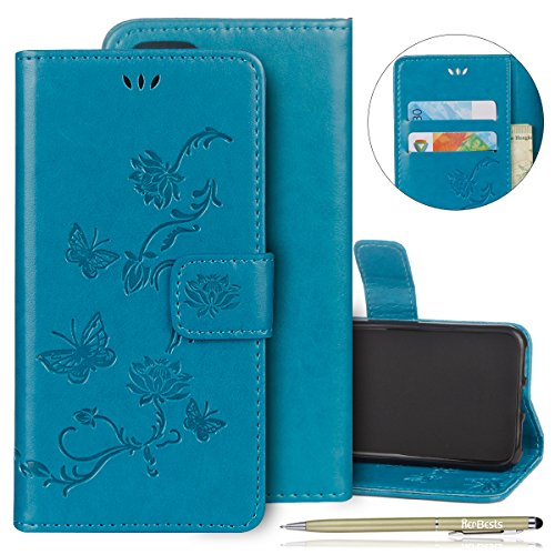 Kompatibel mit Handyhülle iPhone 6S Plus 5.5 Handytasche Blumen Schmetterling Muster Wallet Case Kunstleder Tasche Cover Lederhülle Flip Hülle Leder Klapphülle Ledertasche,Blau