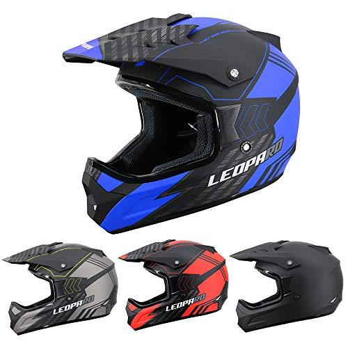 Leopard LEOX307 Casco de Moto Motocross Negro Mate/Azul M (57-58cm) para Ciclomotor Motocicleta y Scooter Mujer y Hombre ECE Homologado