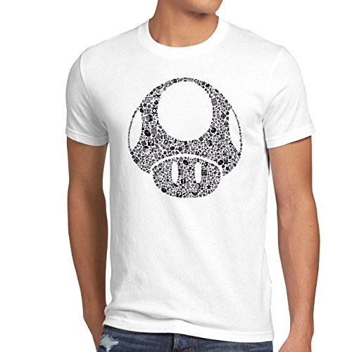 A.N.T. Super Toad Play Herren T-Shirt Mario Pilz Game Gamer, Größe:L;Farbe:Weiß