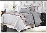 Bettbezug Doppel,Ultra Soft und Pflegeleicht, Einfarbig Einfachen Stil Bettwäsche Set, Reißverschluss Schließen (Silber)