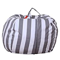 Zantec 26inch Stuffed Animal Storage Bean Bag Cover Kids Plush Toys Storage Pouch Colorful High-capacity Durable Canvas Household Goods Storage Bag YCK12