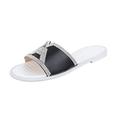 Ital-Design Pantoletten Damen Schuhe Jazz & Modern Blockabsatz Strass Besetzte Sandalen/Sandaletten Schwarz, Gr 39, Fc16-Q63-