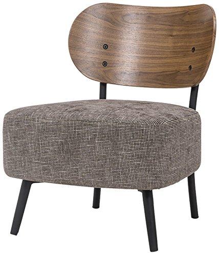 Tuoni ora poltrona con spalliera in legno rifinito rovere, seduta in tessuto, struttura in metallo nero, caffè