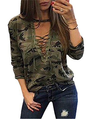 Ninimour Damen Mode Frauen Langarm Shirt schlanken lässige Bluse Camouflage Print Tops