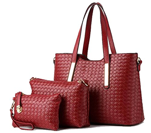 Women 's Knitting Pattern Di Grandi E Medie - Sized Pacchetto Di Tre - Piece Borsa Red