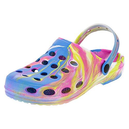 Damen Clogs Garten Schuhe Freizeit Pantoffel Strand Pool in Vielen Farben M194bu Bunt 37
