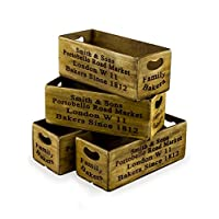 Interior Flair Vintage Style Portobello Road Display Storage Container Crate Wood Boxes Set