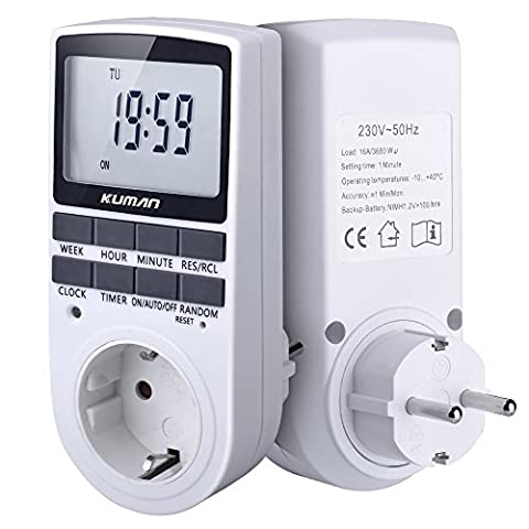 Digitale Wochenzeitschaltuhr Kuman Digital weekly Timer Switch Electronic Programmable Timer Sockets plug-in time switch with LCD Display 12/24 Hour 7 Days W45