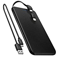 Spigen Taşınabilir Şarj Cihazı Ultra Slim 5000mAh / Dahili Micro Usb Kablo / Lightning Adaptör - Siyah
