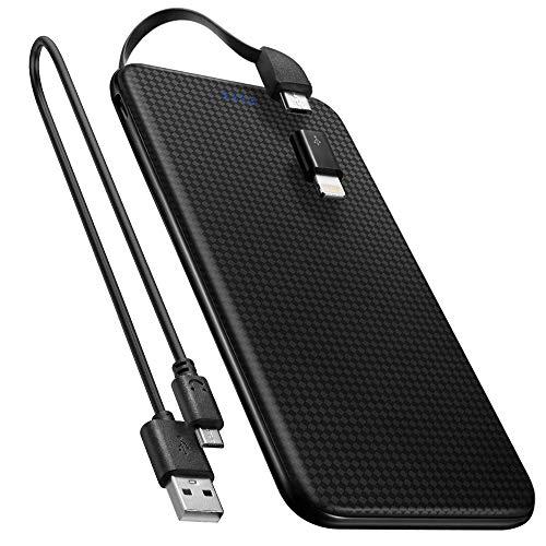 Spigen Essential F706L Super Ultra Sottile 5,000 mAh Caricabatterie Portatile USB Ricarica con Cavo a 8 Pin & Micro USB 5 Pin Power Bank Batteria Esterna, Compatibile con Smartphone iOS o Android