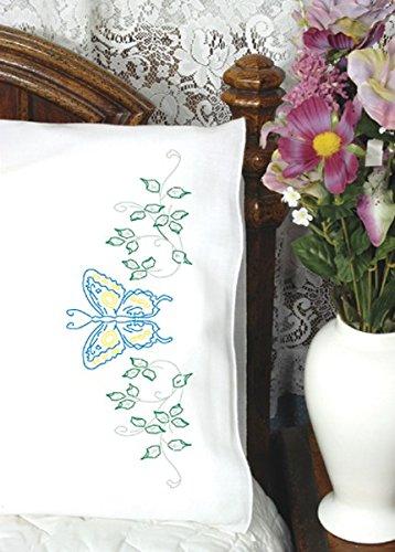 Fairway Näharbeiten 83031Perle Edge Kopfkissen, Blau Schmetterling Design, Standard, weiß