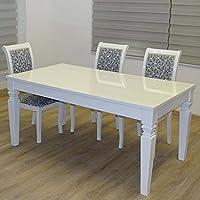 Euro Tische Esstisch 160 X 90 X 75 Cm, Weiß Hochglanz Lack Kratzfest,  Esszimmer