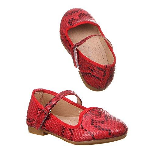 Chaussures enfant fille f-92, ballerines femme Rouge - Rot (19-24)