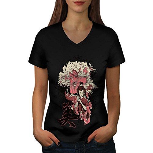 Geisha Sakura Kunst Fantasie Kostüm Perücke Damen S V-Ausschnitt T-shirt | Wellcoda