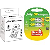 Godrej 2500mAh AA 2Nos Battery And GP PowerBank Rechargeable Charger