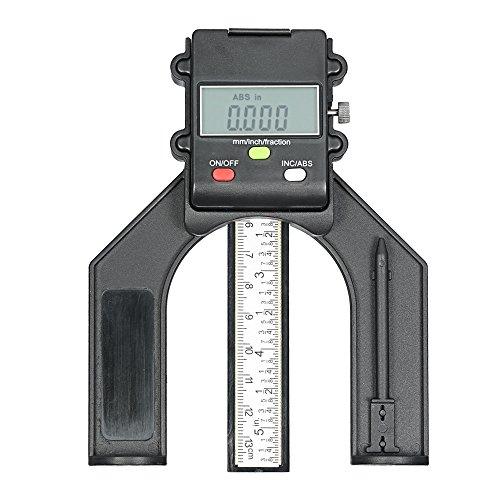 KKmoon 0-130mm Digital LCD Display Höhenmessgerät Tiefenmessgerät Tischsäge Höhenmessgerät mit Drei Maßeinheiten Verriegelungsschraube für Holzbearbeitung Router Tisch