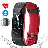Pruvansay fitness wristband watch heart rate monitor, fitness tracker IP68 waterproof smart watch, 0.96 inch colour screen activity tracker, pedometer for iPhone Android, red