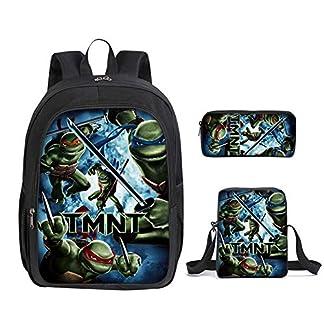 Conjunto de Mochila Escolar de 3 Piezas, Contiene de Ninja Turtles Tema Mochila para Adolescentes, Bolsa de Almuerzo, Estuche con Cremallera Backpack