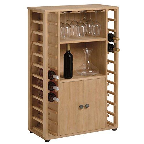 Renoir - Cellar Bar - Cave à vin en bois de pin pour 22 bouteilles avec des lunettes porte