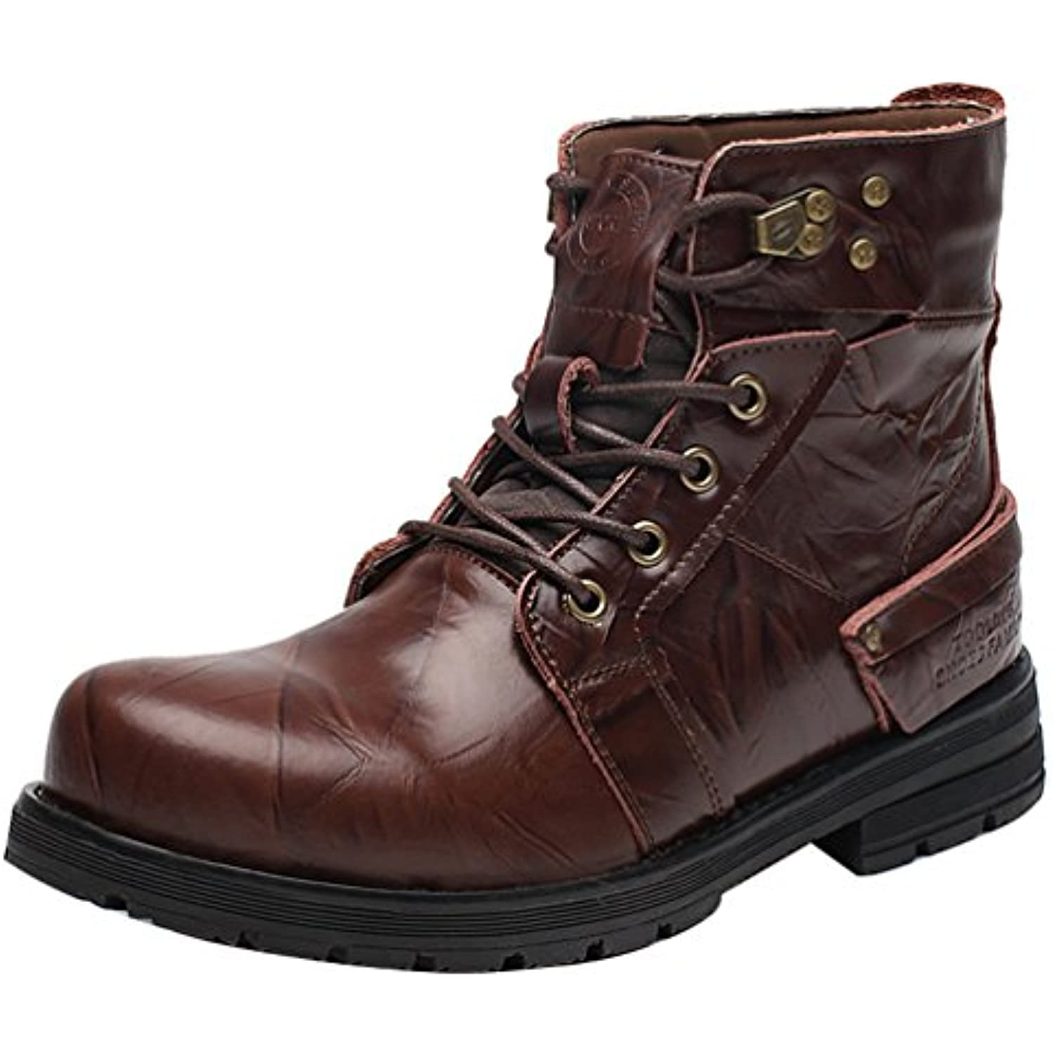 QYY-5588 New  s Leather Leisure High Top Warm Athletic Warm Top Working Boots DarkBrown 41 EU - B01N5XEL4G - 4c61a9
