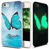 iPhone 5S Hülle,iPhone SE Hülle,iPhone 5 Hülle,ikasus Bunte Gemalt Muster [Leuchtend Luminous] Handyhülle TPU Silikon Hülle Handy Hülle Case Tasche Schutzhülle für iPhone SE/5S/5,Blau Schmetterling