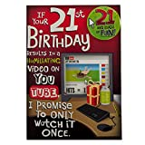 Hallmark 21st Birthday Card For Him 'Youtube' - Medium