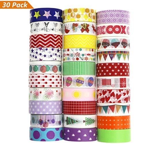 Buluri 30 Rollos de Cinta Adhesiva Washi Cinta Adhesiva Decorativa para Scrapbooking DIY Manualidades