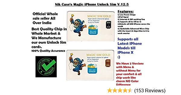 Nik case iPhone Unlock Chip for iPhoneX-8-8p-7-7p-6S-6Sp-5-5sp, Very Easy  and Fast Auto Plug and Play (M Black)
