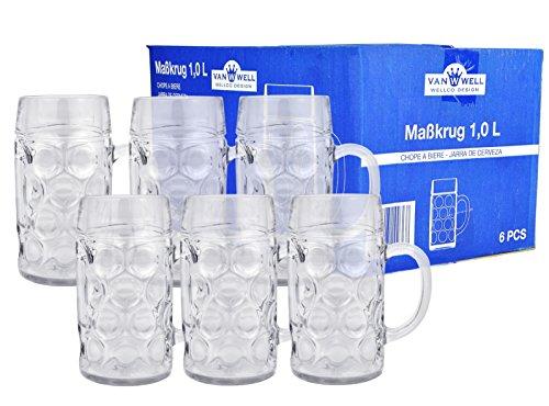 1 Bierkrug Liter (6er Set Maßkrug 'Wellco' - 1 Liter Bierkrug aus Glas - geeicht)