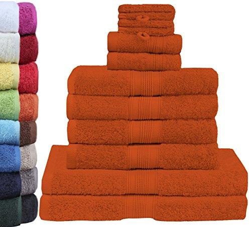 GREEN MARK Textilien 10 TLG. FROTTIER Handtuch-Set mit verschiedenen Größen 4X Handtücher, 2X Duschtücher, 2X Gästetücher, 2X Waschhandschuhe | Farbe: Terrakotta | Premium Qualität