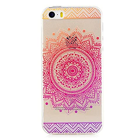 MUTOUREN iPhone SE/5/5S TPU case cover TPU silicone material, ultra-thin feel good, soft 3D transparent anti-shock anti-scratch protective bling Beautiful Datura Flowers Drawing-rose red flower