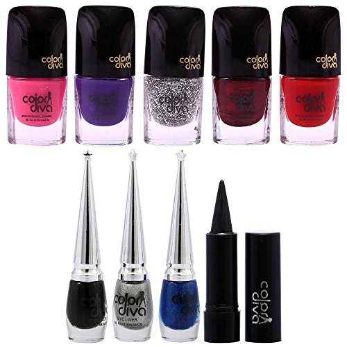 Color Diva Love Sepecial 5Pc Nail Paint, 3Pc Eyeliner & 1 Kajal