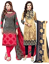S Salwar Studio Women's Pack of 2 Synthetic Printed Unstitched Dress Material Combo(SOM-0047903_Multi_FS)