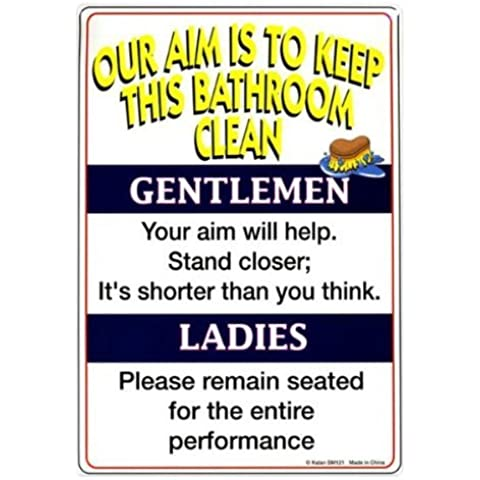 Kalan Tin Sign Our Aim Is To Keep This Bathroom Clean by Kalan