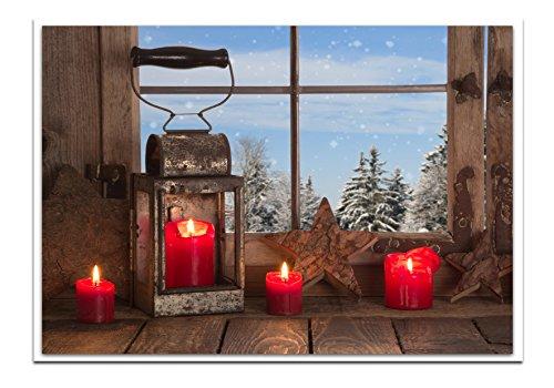 Set: 100pezzi rosso bianco blu marrone classico biglietti di natale lanterna con quattro candele rosse 14,8x 10,5cm geklappt con busta senza testo biglietti natalizi per clienti biglietti in foto.