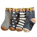Happy Cherry Baby 4 Paar Baumwolle Socken Set Mädchen Jungen Süß und Weich Vintage Söckchen Größe XS für 0-6 Monate - Grau