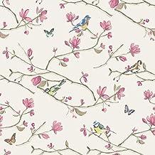 Papel pintado flores y pajaros - Papel pintado amazon ...