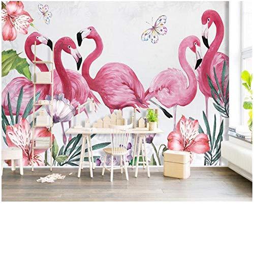 Qbbes moderna personalità classica moderna stereo carta da parati fenicottero farfalla sfondo fresco foglie wallpaper per pareti 3 d-400x280cm