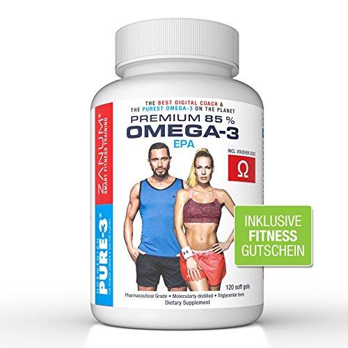 NPURE-3 Premium 85% OMEGA 3 Fischöl - Kapseln 120 Stück - 1000mg EPA und 400mg DHA pro Tagesdosis - Reinstes Omega 3 der Welt - Omega3 fürs Workout und zum Abnehmen - inkl. ZANUM Fitnessgutschein