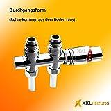 Multiblock Set für Mittelanschluss inkl. Thermostatkopf Chrom Durchgangsform