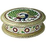 Etsibitsi Dry Fruit Box, Serving Tray, Decorative Platter, Beautiful Snack Box With Unique Meenakari Peacock Design