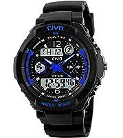 CIVO Mens Boys Digital Watches 50M Electronic Waterproof Military Sports Watch Simple Fashion Design LED Divers Watch for Men Big Face Electronics Light Analogue Digital Wrist Watch Black (Blue)