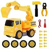 HERSITY Camion da Costruzione Montare e Smontare Giocattolo Escavatore Giochi da Assemblare per Bambini Plastica